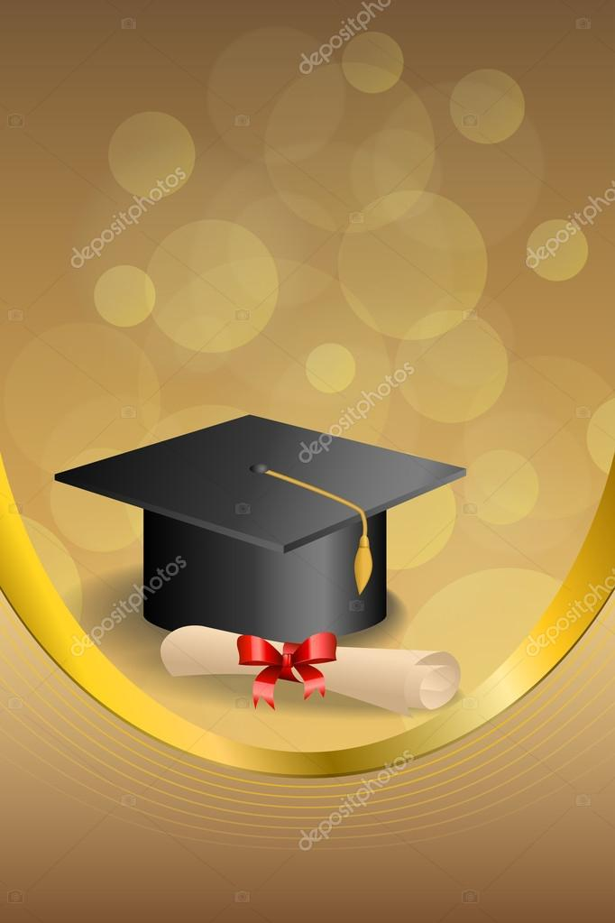 background abstract beige education graduation cap diploma red bow