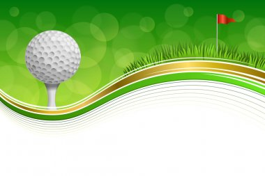 Background abstract golf sport green grass red flag white ball frame gold illustration vector
