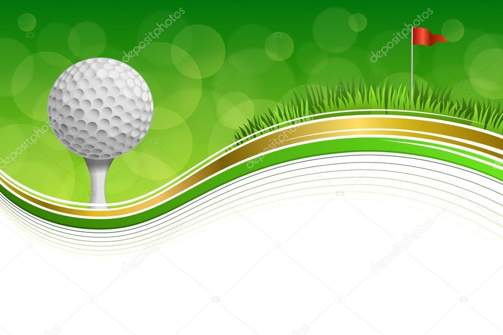 Background abstract golf sport green grass red flag white ball frame ...