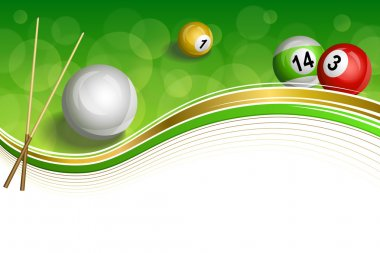 Background abstract green billiards pool cue red white yellow ball gold frame illustration vector