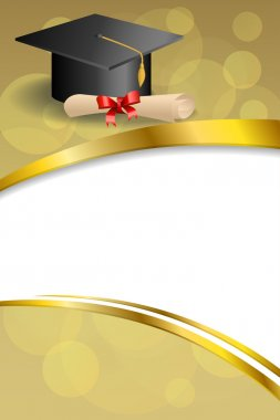 Background abstract beige education graduation cap diploma red bow vertical gold ribbon illustration vector