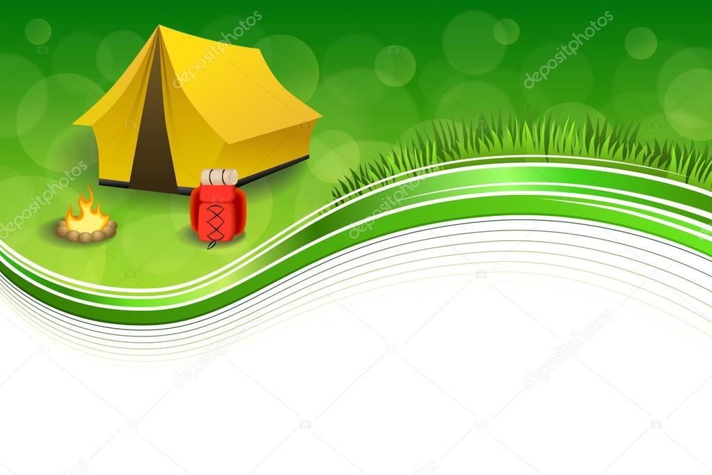 Hintergrund abstrakte grüne Gras Campingtourismus gelbe Zelt roten ...