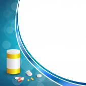 Background abstract blue white medicine tablets red pill plastic yellow bottle packages frame illustration