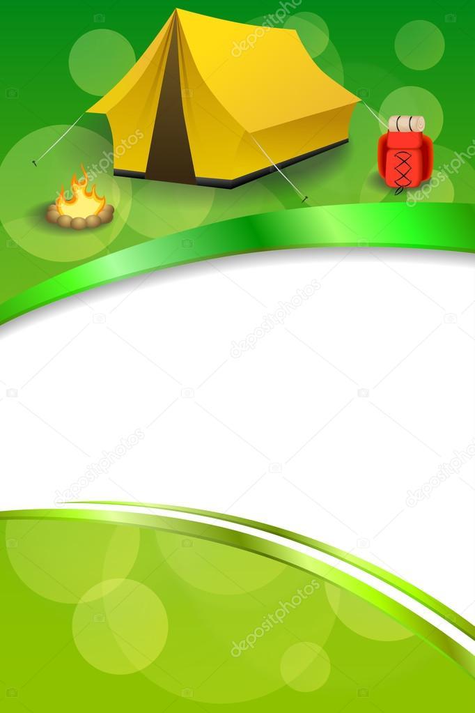 Hintergrund abstrakt grün Campingtourismus gelbe Zelt rot Rucksack ...