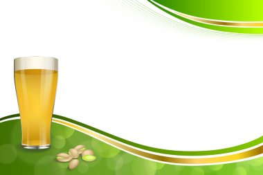 Background abstract green gold drink glass beer pistachios frame illustration vector