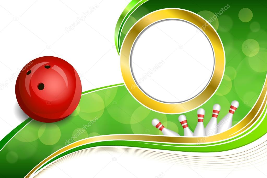 Background abstract green bowling red ball gold frame illustration ...