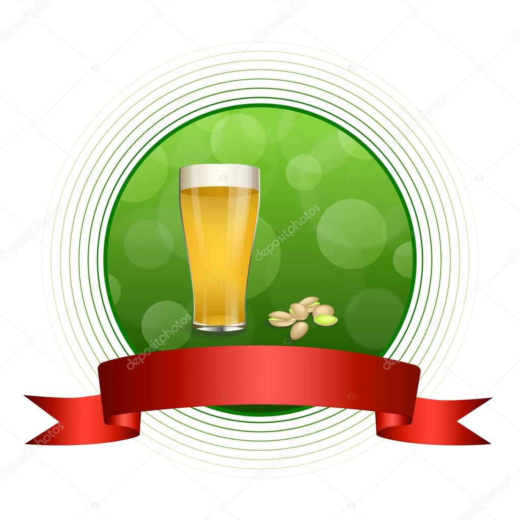 Fondo abstracto verde bebida vidrio cerveza pistachos cinta roja ...