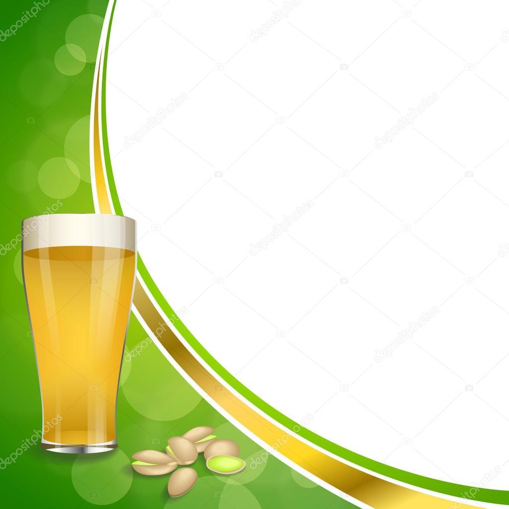 Pistachos de fondo abstracto verde Copa oro cristal Cerveza vector ...