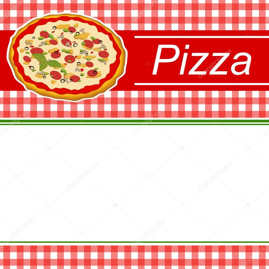 Background Abstract Red Menu Pizza Green Stripes Frame Illustration Vector Stock