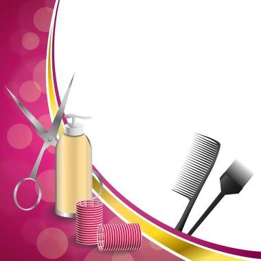 Background abstract pink hairdressing barber tools red curler scissors brush gold ribbon frame illustration vector