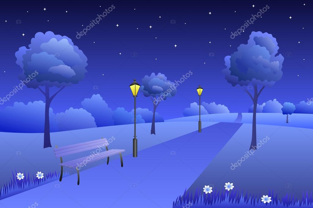 Background park summer landscape night illustration vector