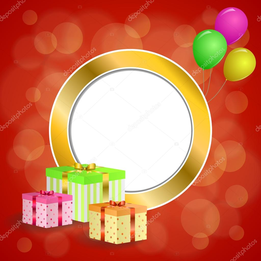 abstract background birthday party gift box green red yellow