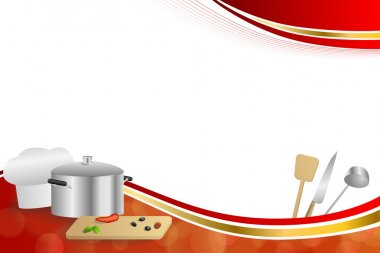 Background abstract red cooking white hat saucepan soup ladle knife paddle kitchen pepper olives gold ribbon frame illustration vector