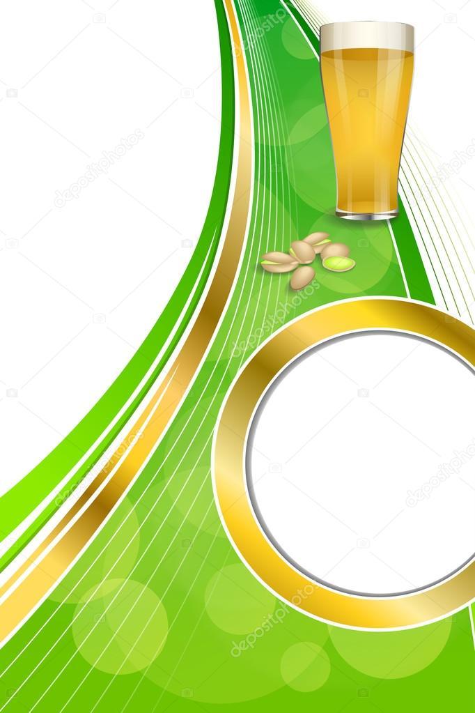 Pistacchi Di Sfondo Verde Astratto Bere Bicchiere Birra Cornice