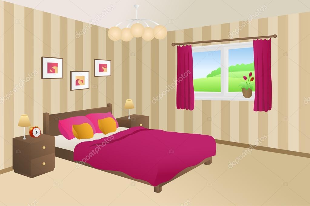 Moderne Schlafzimmer Beige Gelb Rosa Bett Kissen Lampen Fenster Vektor U2014  Stockvektor
