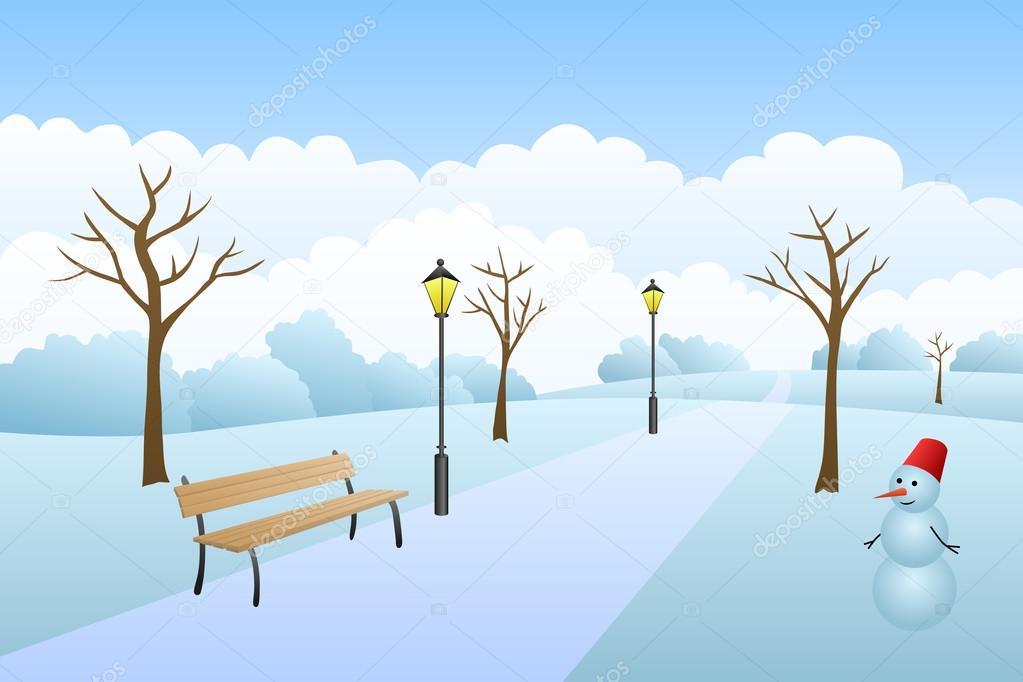 公園冬の風景雪の日イラスト ストックベクター Aluna11 81680324