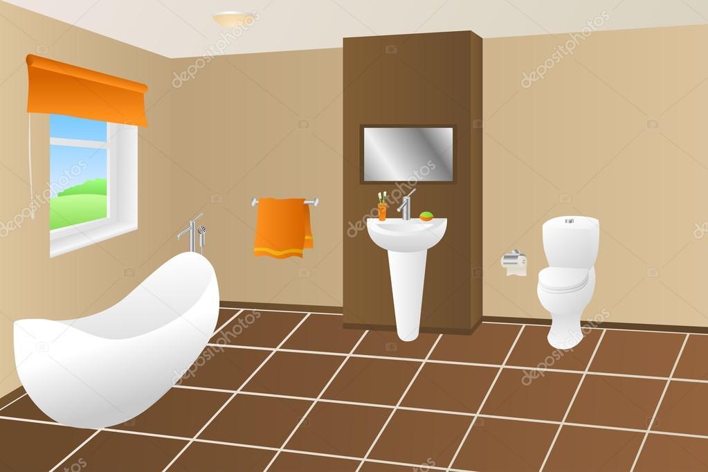 Bagno Marrone Moderno : Bagno moderno bagno marrone beige arancio asciugamano lavandino wc