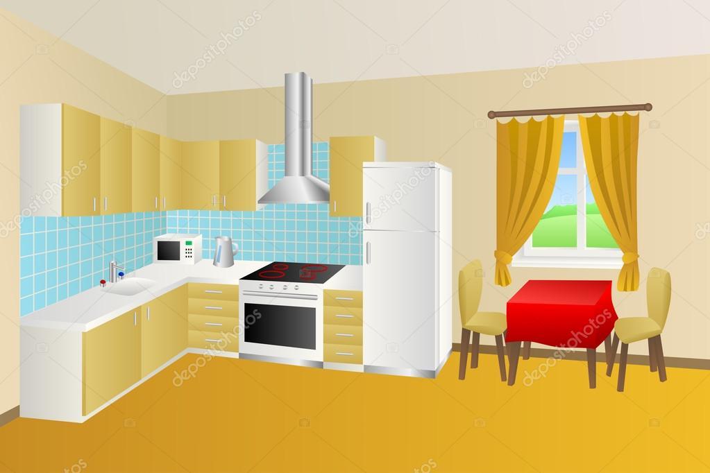 Cuisine moderne chambre beige table bleu jaune rouge fauteuil ...