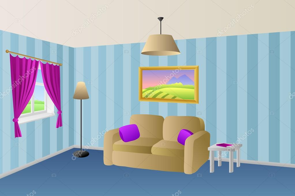 Moderne Wohnzimmer Blau Beige Sofa Violett Rosa Kissen Lampen Fenster  Vektor U2014 Stockvektor