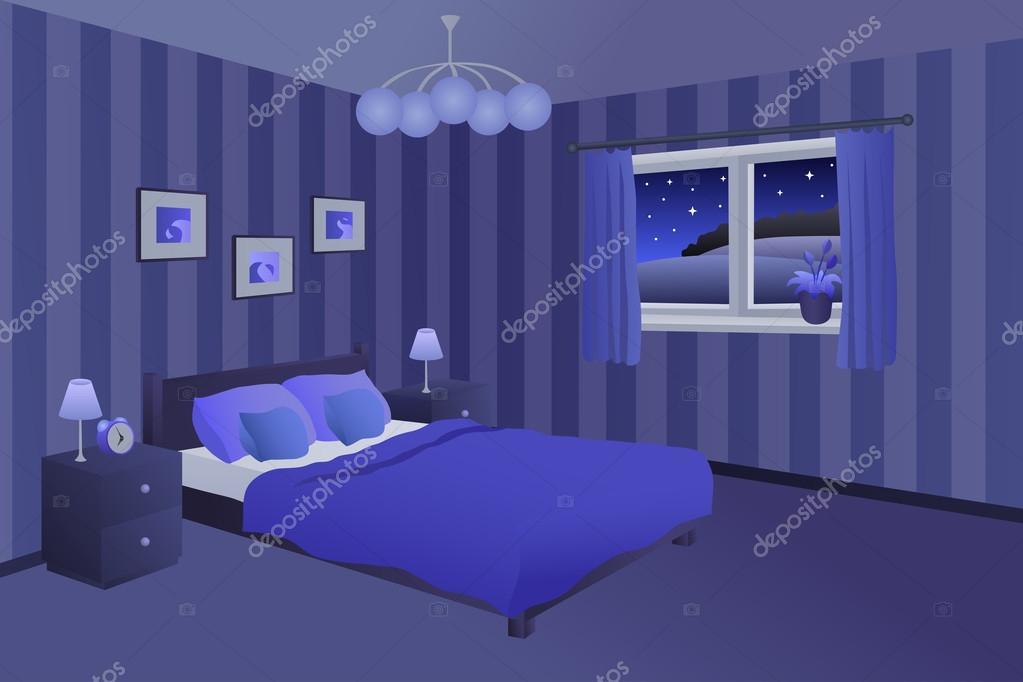 Moderne Lampen 90 : Moderne schlafzimmer nachtblau schwarz bett kissen lampen fenster