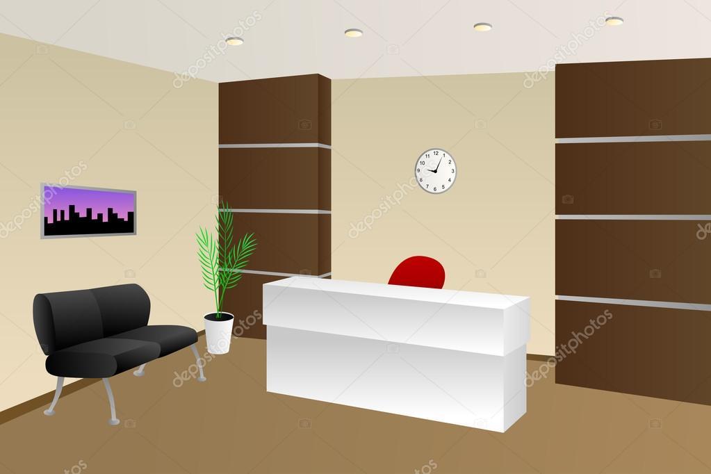 Sala recepcion oficina | Vector de ilustración gabinete de ...