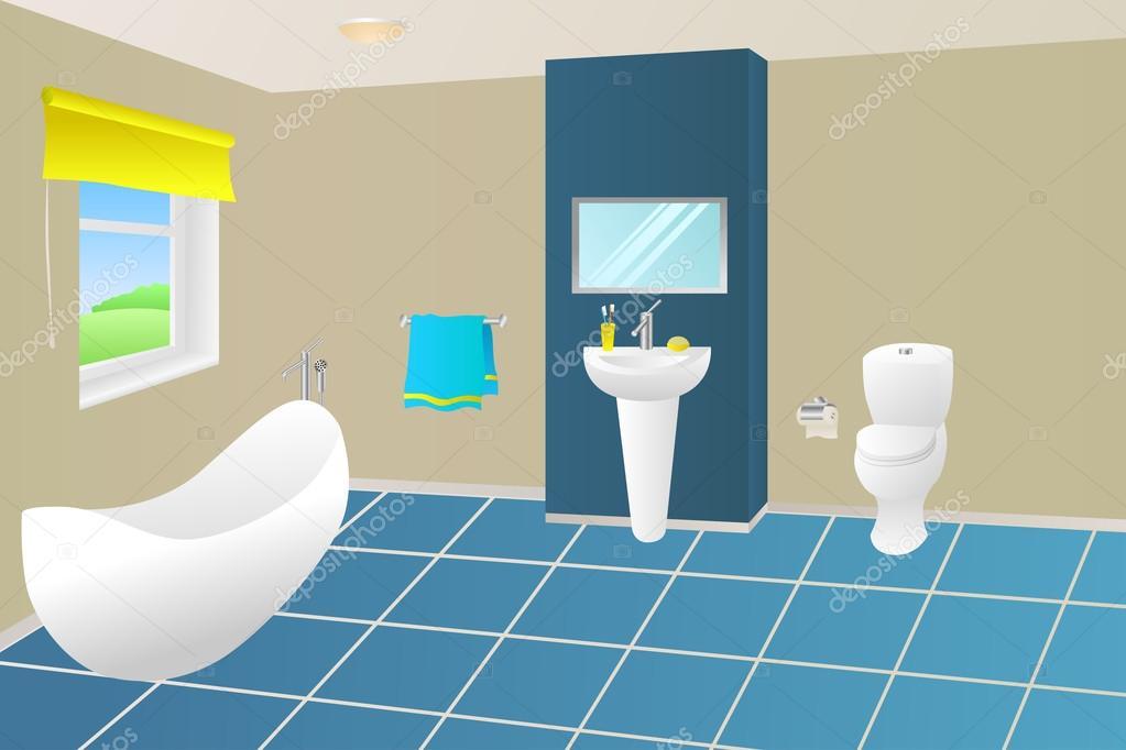 Modernes Badezimmer Beige blau gelb Bad Handtuch Waschbecken ...