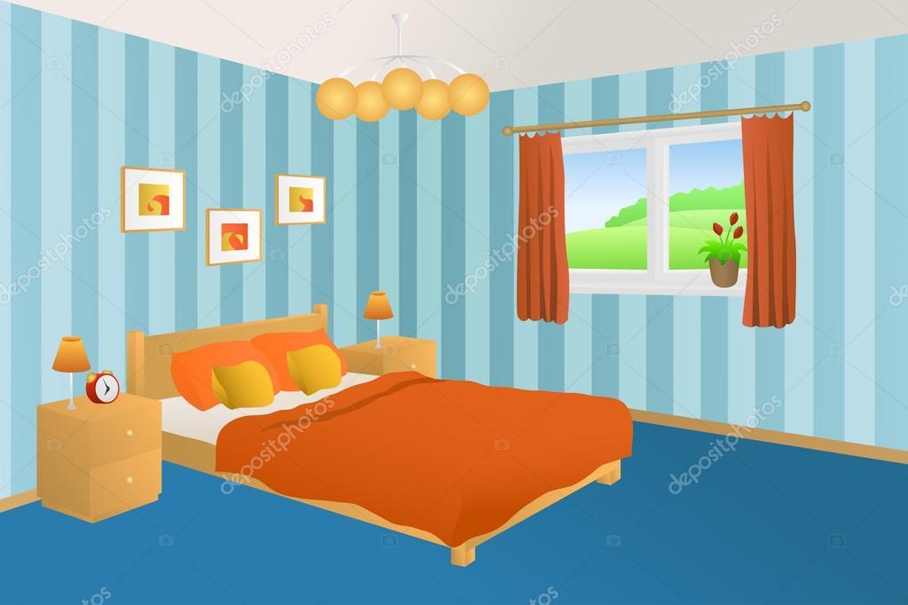 Moderne schlafzimmer innen blau orange gelb bett kissen lampen