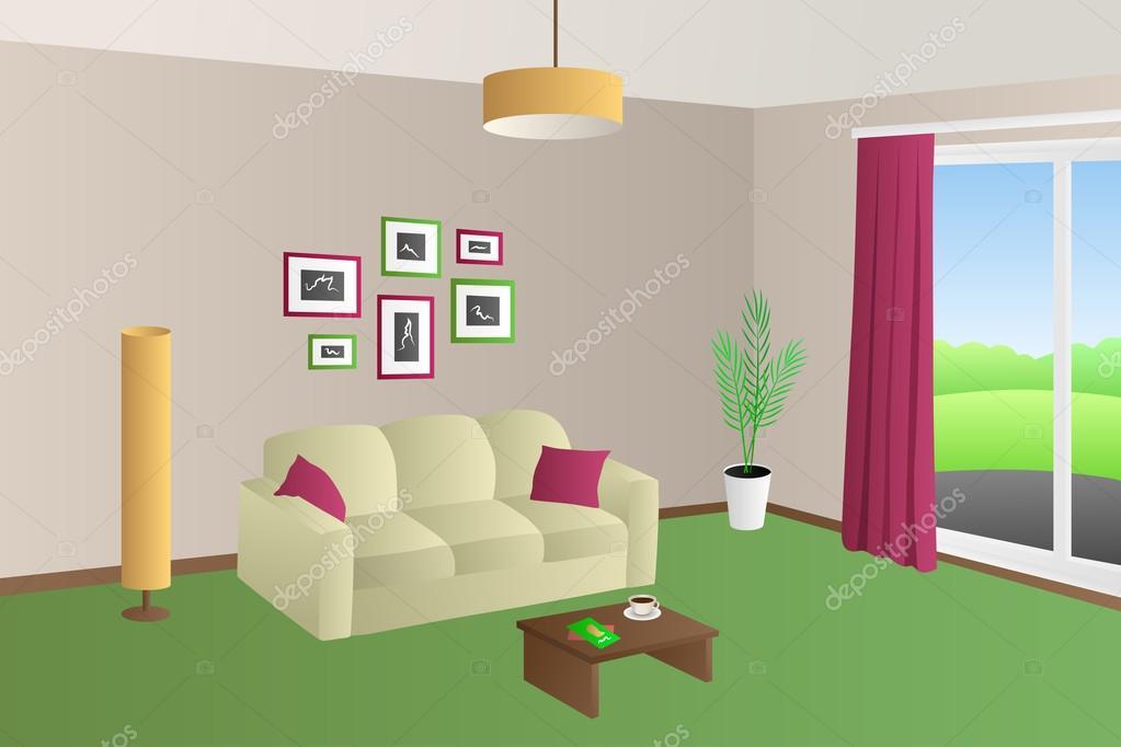 Moderne Wohnzimmer Interieur Beige Grun Sofa Rot Kissen Lampen