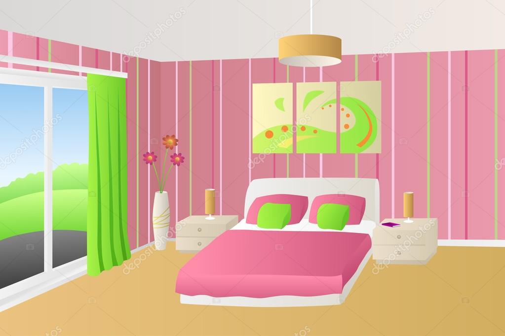 Modern belső hálószoba bézs rózsaszín, zöld ágyban párnák lámpák ablak illusztráció vektor ...