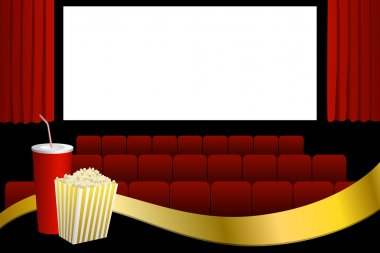 Cinema red seats white blank screen drink popcorn gold ribbon illustration vector