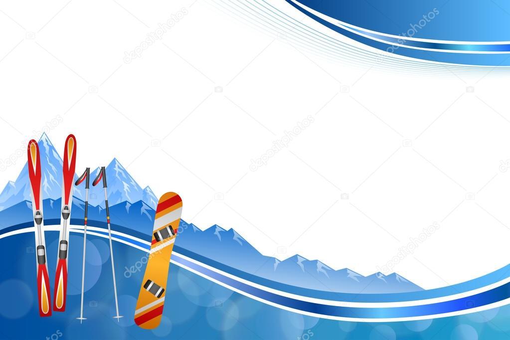 Vector de la ilustración fondo abstracto azul esquí snowboard ...