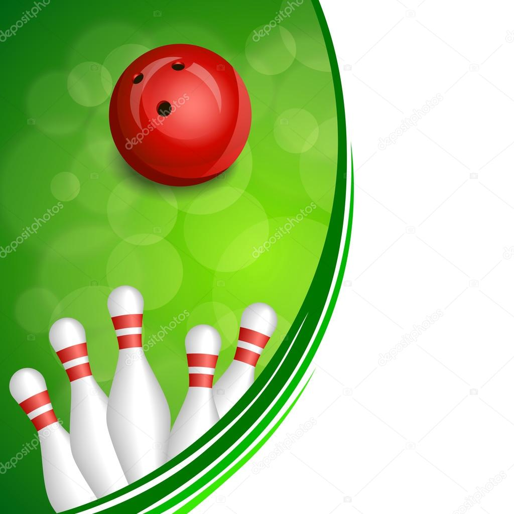 Background abstract green bowling red ball frame illustration vector ...