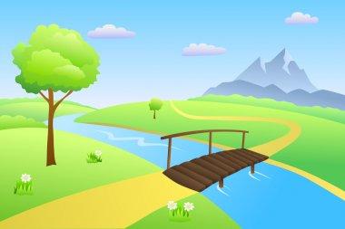 Bridge river summer landscape day illustration vector