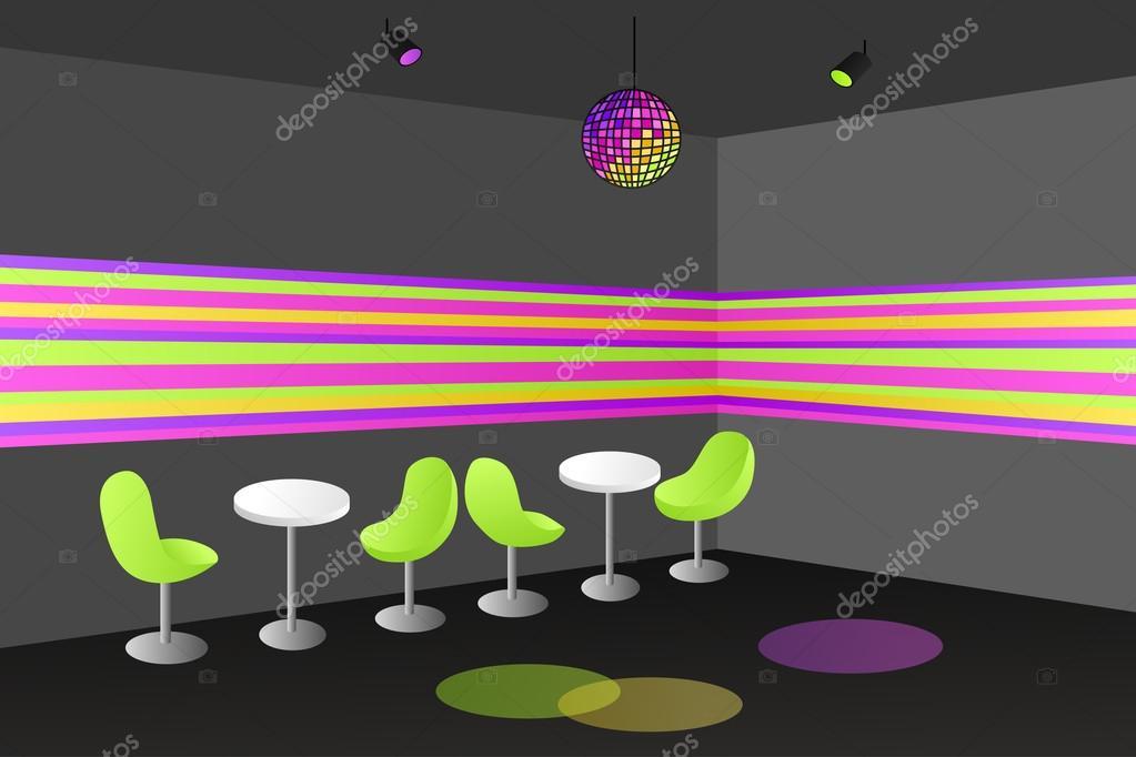 夜クラブ ディスコ インテリア テーブル椅子イラスト ストックベクター