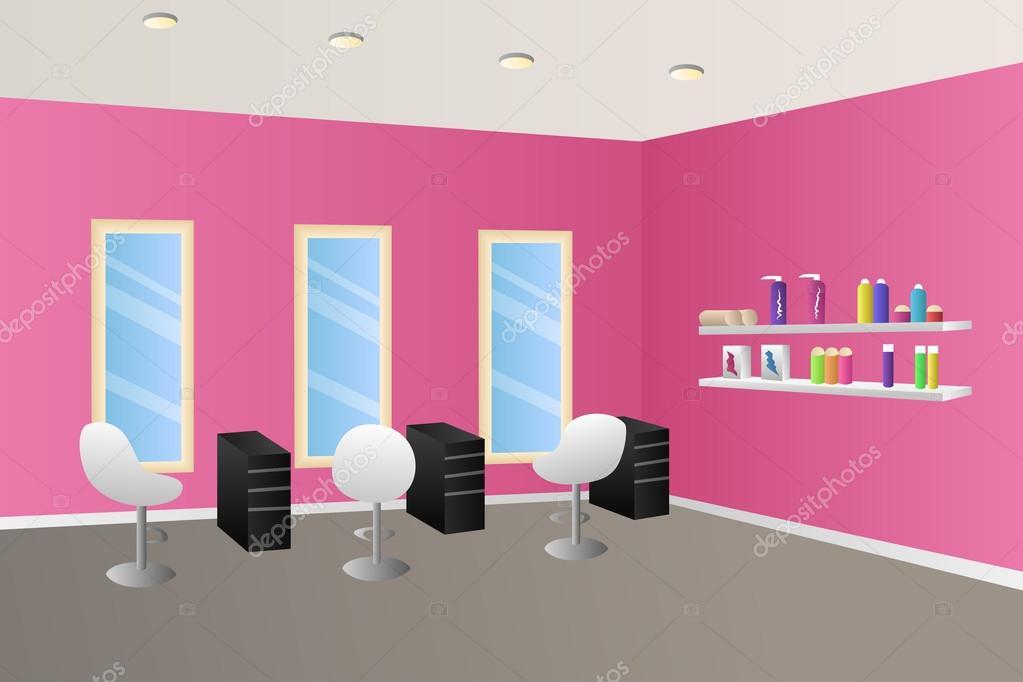 Kappers salon roze interieur kamer illustratie vector — Stockvector ...