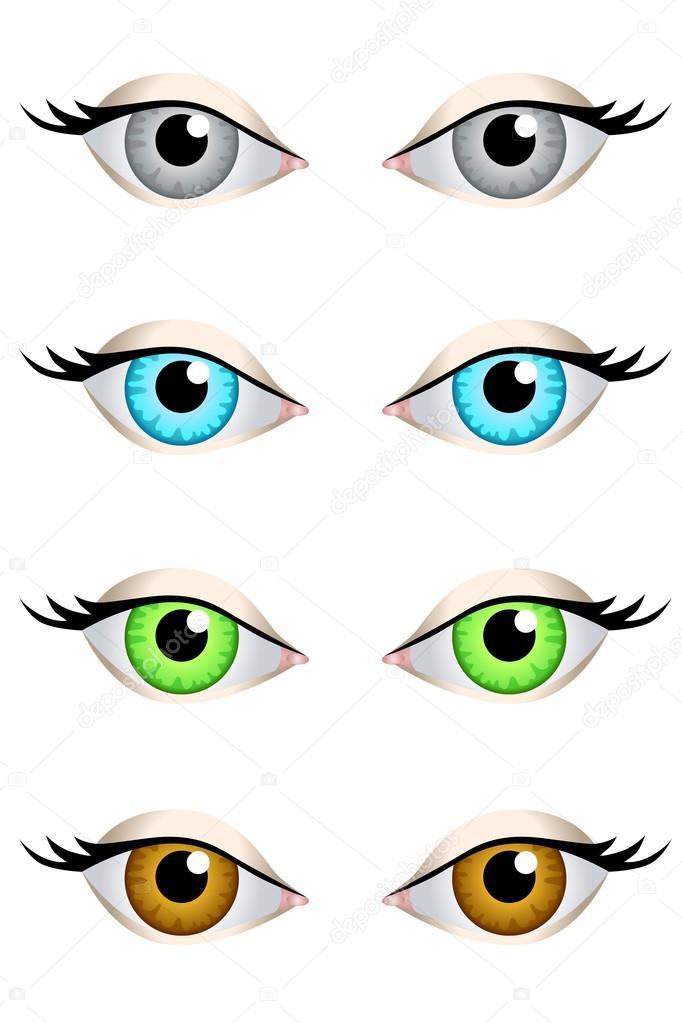 Augen Set Blau Grun Grau Braun Illustration Vektor Stockvektor