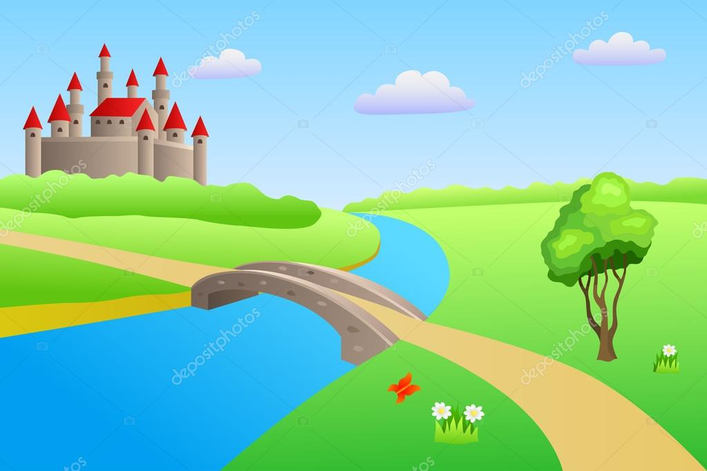 Bridge river summer landscape day castle illustration vector
