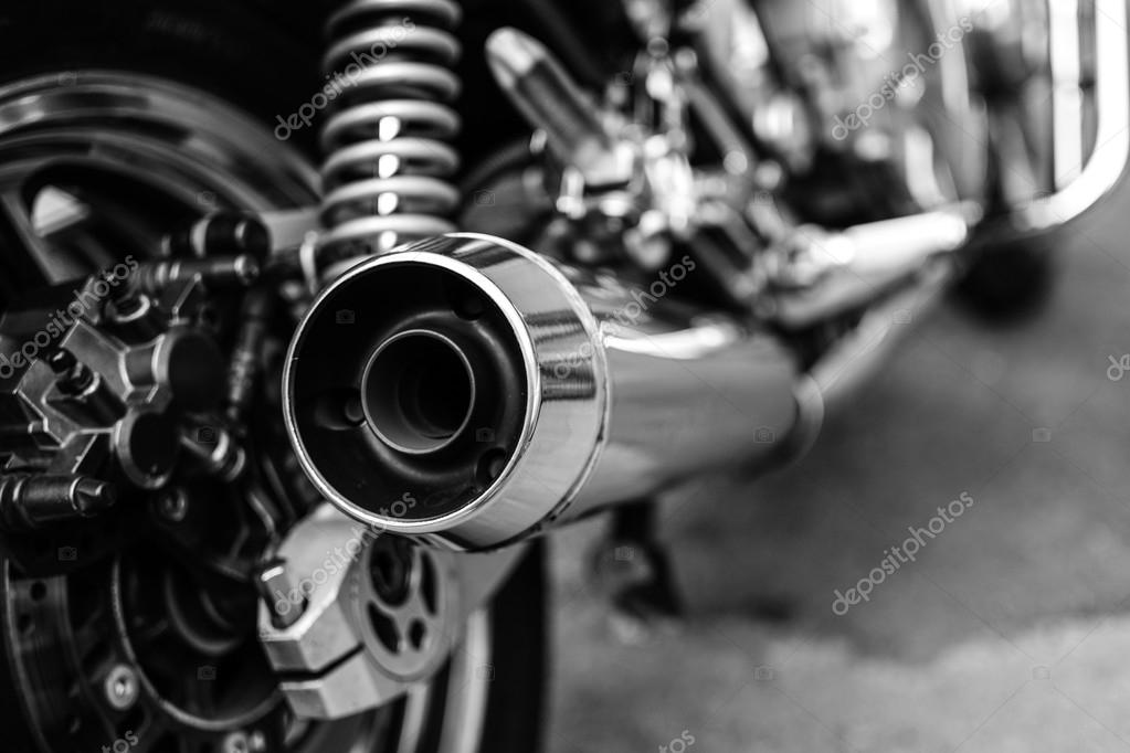 Subotica, Serbia - Jun 13, 2015: Photo shoot of Kawasaki ZR 1100 Zephyr A1 bike from 1992.Four stroke transverse four cylinder. DOHC, 2 valves per cylinder. 1062cc, air cooled. Black and white photo.