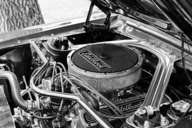 Subotica,Serbia -July 05,2015. Ford Mustang 289 edelbrock on Annual oldtimer car show Subotica 2015. Various vintage cars and motorcycles.In organization of Oldtimer Club Subotica.