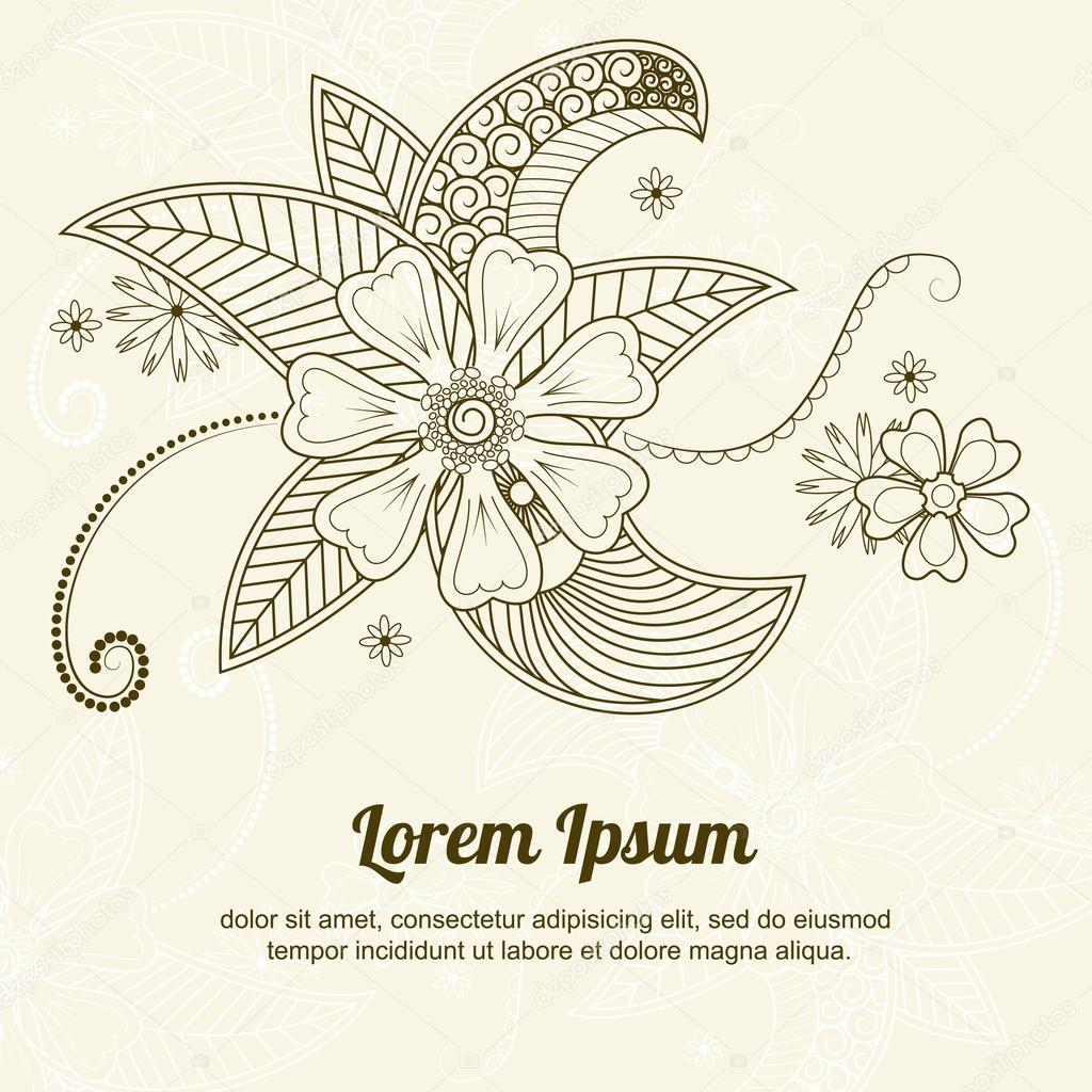 Vector abstract floral elements in indian mehndi style.