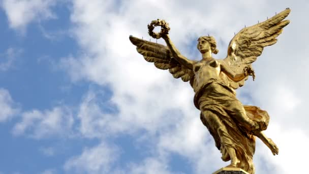Time-lapse full body to monument called Independence Angel.