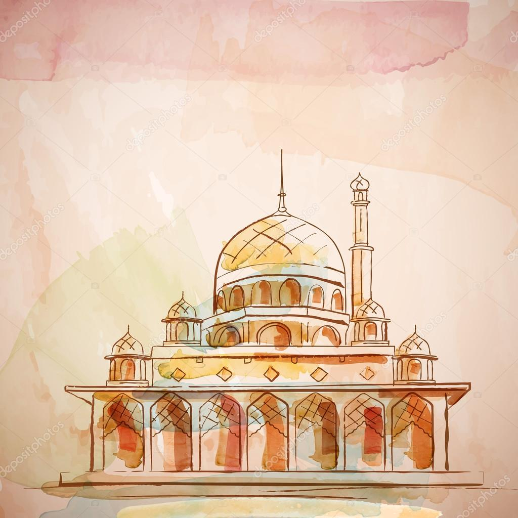 Islamic Background Design Mosque Vector Watercolor Effect