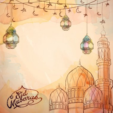 Eid Mubarak vector sketch lantern and mosque