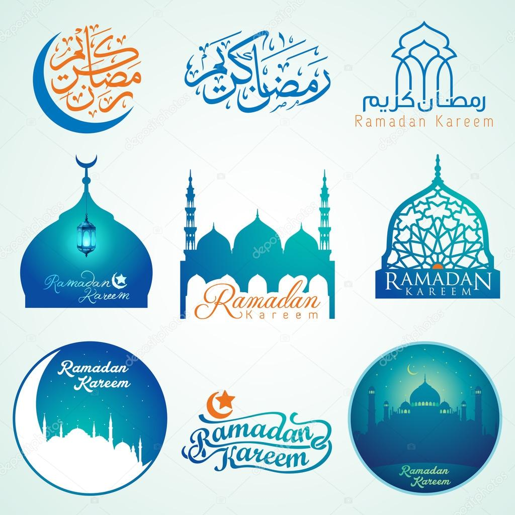 Ramadan Kareem Set Of Emblems Arabic Calligraphy And