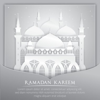 Vector 3D mosque muslim Paper Graphic Greeting Card. Translation Ramadan Kareem