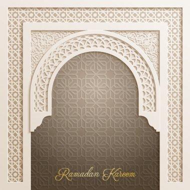 Door mosque with arabic pattern for Ramadan Kareem greeting background