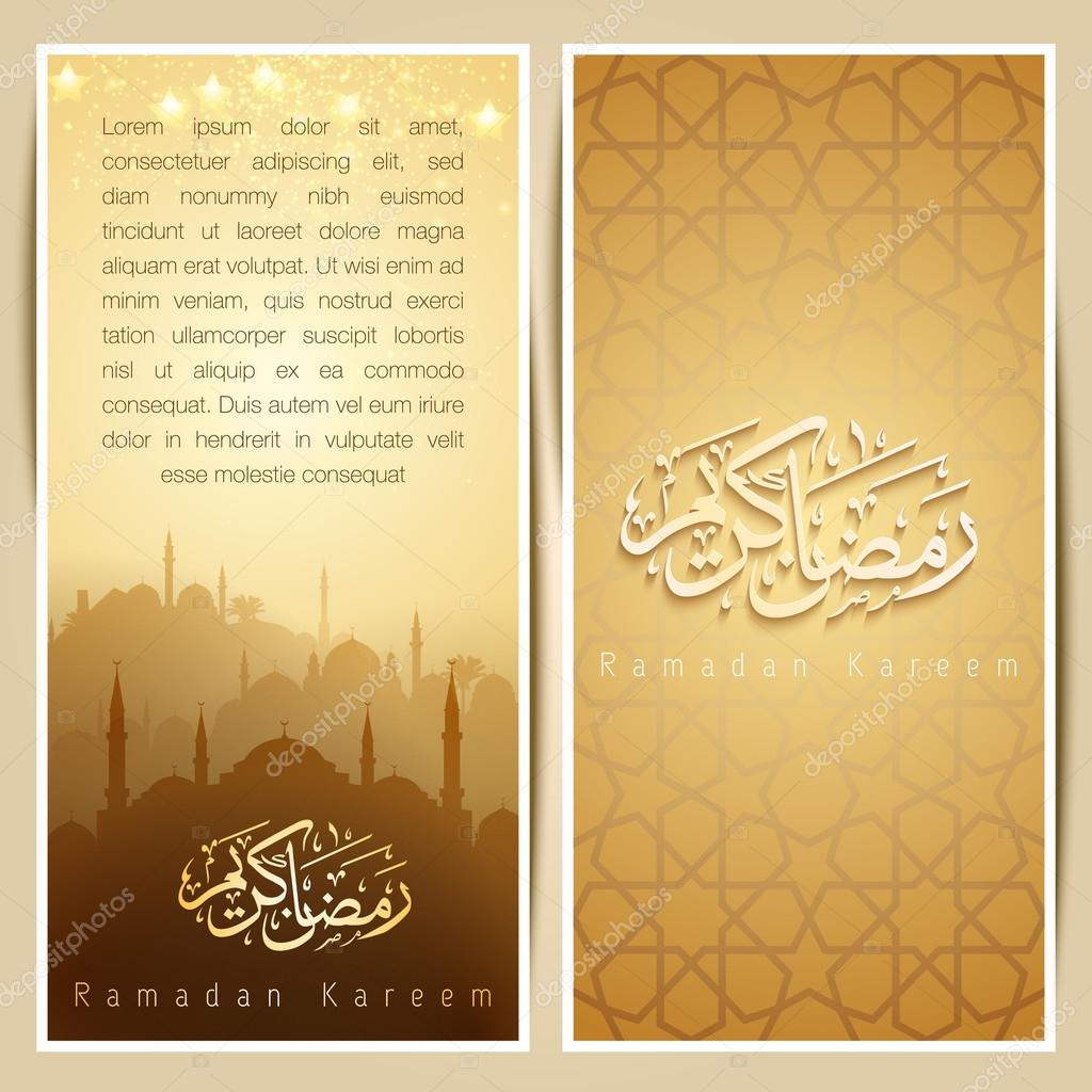 Islamic greeting card template with mosque and arabic pattern gold islamic greeting card template with mosque and arabic pattern gold glow for ramadan kareem stock kristyandbryce Image collections