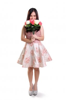 Shy girl and flower full length isolated