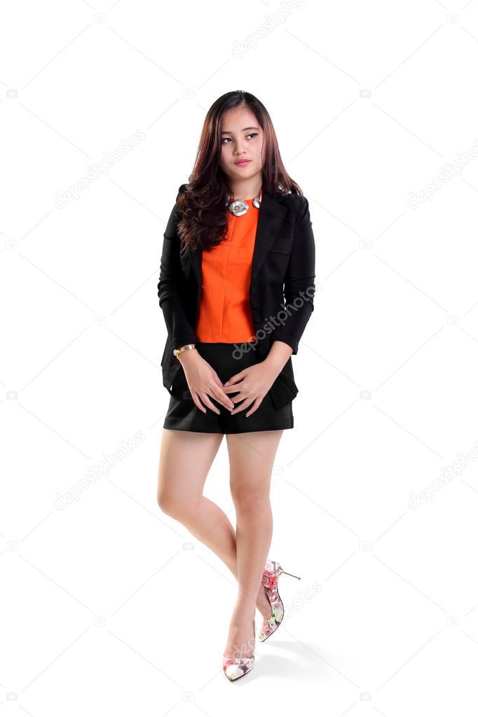 Office lady standing full length