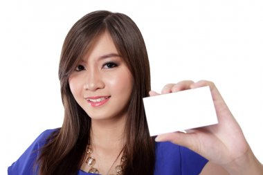 Pretty girl showing a multifunctional card